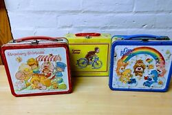 Lot Of 3 Tin Lunch Boxes, Two Vintage Care Bear And Strawberry Shortcake