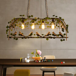 Dining Chandelier Artificial Plants Ceiling Light Birdcage Balcony Pendant Lamp