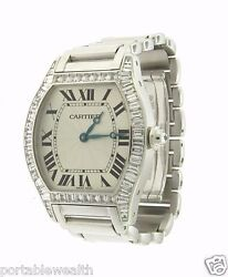 Cartier Special Order Diamond Tortue Watch 18k White Gold Automatic All Factory