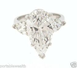 9.03ct Pear Shape Diamond D VS2 GIA Plat. Ring 2 Pear Shape D Color Sides 10ct