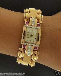 Marvin Vintage Retro Style 18K Rose Gold Ruby Diamond Watch Mechanical Antique