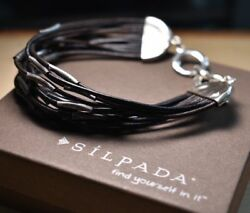 Silpada Sterling Silver And Leather Speed Of Light Bracelet B2183