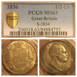 England 1836 1/2 Half Crown Silver Coin S-3834 Uncirculated Pcgs Ms63