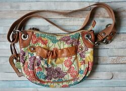 Fossil Small Purse Shoulder Bag Crossbody Canvas Floral Brown $30.00