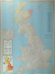 Vintage Large Map Of Britain Oats Mixed Corn Yield Acreage Home Production