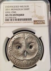 2011 Mongolia S500t Endangered Wildlife Ural Owl Ngc Ms 70 Antiqued Perfection