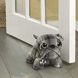 Elements Plaid Bull Dog Door Stopper 10-Inch Home