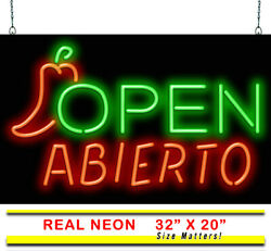 Abierto Open With Pepper Neon Sign   Jantec   32 X 20   Mexican Restaurant Bar