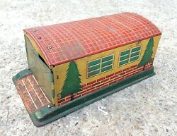1960and039s Vintage Rare Alps Trademark Wind Up Fire Dept Tin Garage Toy Japan