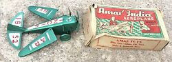 1952and039s Vintage Rare Amar Brand Wind Up Plane Tin Toy- Working Welloriginal Box