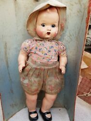 1910and039s Antique Scarce Early Big 17.75 Cloth Covered Porcelain Doll Toy Germany