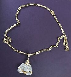 miami cuban link 14k 26 inches long with 14k Buddha pendant with diamond chips