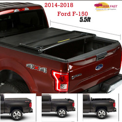 5.5ft Soft Tri-Fold Truck Bed Tonneau Cover For 2014-2018 Ford F150 Lock