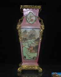 Chinese Wucai Porcelain Inlay Bronze Flower And Bird Beauty Head Bottle Pot Vase