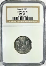 2004 P Wisconsin State Quarter Ngc Graded Ms 66 34760
