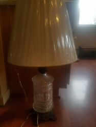 Ef Industries 338 Cut Glass 1970 Table Lamp Quilted Pattern Base