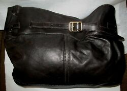 Authentic BURBERRY Large Chocolate Brown Soft Leather Slouchy Hobo Bag w Duster