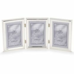 Lawrence Frames Hinged Triple Vertical Metal Picture Frame Silver-plate With 5