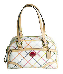 Coach Peyton Tattersall Multi-Color & Tan Leather Satchel Bag Purse F20065 NWT