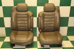 03-04 H2 Gray Pair Dual Power Heated Bucket Seats Electric Tracks Armrest Belts