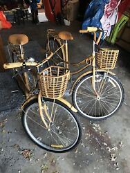 Vintage Bamboo, Wicker And Rattan 1940-1960 Bicycles. His And Hers.