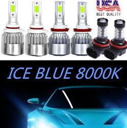 COB LED Headlight+Fog Light Kit For Honda CR-Z 2011-2016 8000K ICE Blue Bulb 6X