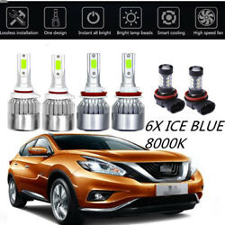 6X COB LED Headlight+Fog Light For Nissna Murano 2009-2014  ICE Blue Bulbs 8000K