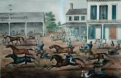 Coming From The Trot 1869 Currier And Ives Hand Colored Lithograph- Thomas Worth