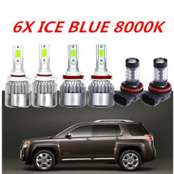 6X COB LED Headlight + Fog Light For GMC Terrain 2010-2015  ICE Blue Bulbs 8000K