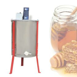 UK  Stainless Steel  4 Frame Electric Honey Extractor 3 Steel Legs 2 Clear Lids