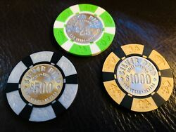 Vintage Silver Bird Uncirculated 1000 500 And 25 Las Vegas Casino Chip Chips