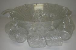 Anchor Hocking Soreno Clear 26 Pc Punch Set Bowl 12 Cup Ladle Hooks With Box