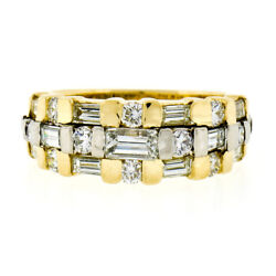 18k Yellow Gold 1.75ct Round Baguette And Emerald Cut Diamond Wide 3-row Band Ring