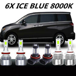 6X COB LED Headlight HiLow+Fog Light For Nissan Quest 11-17 8000K Bulb ICE Blue