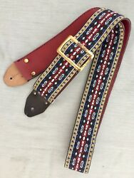 Vtg 60's Gibson Ace Style Hippie Hootenanny Woven Guitar Strap Made in USA