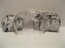 Cosmetic Bag Set of 3 France Eiffel Tower Clear Black White Zip Around NWT L357 $14.99