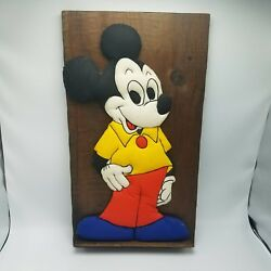 MICKEY MOUSE Plush On Wood Plaque Vtg 60s 70s