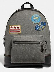 Coach West Backpack Rare W/felt Face Military Patch Black Grey Msrp 650 Htf
