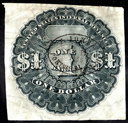 Beer Stamp 1867 Rea12 1 One Dollar Black Used On Thin Transparent Paper F Jones