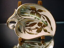 Stouffer China Hand Painted Art Deco Daffodil Handled Candy Dish Gold Decorated