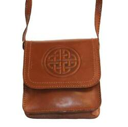 Lee Rivers Genuine Brown Leather Handmade Clutch Bag with Celtic Design