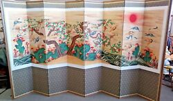 Original Asian Art 1800's Hand Painted Joseon Dynasty 8 Panel Silk Divider