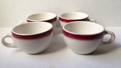 4 1966 Red Airbrushed Coffee Cup Lot, Walker China Restaurant Ware Mug Vintage