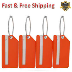 Luggage Tags Fully Bendable Rubber Tags Privacy Cover Metal Loop Flexible 4 Pack