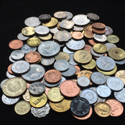 Lots of 100 foreign coins collection.  Real money no duplication. 90% UNC.