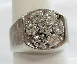 CLASSIC MAN'S WHITE GOLD & 2cts+ GEM QUALITY DIAMONDS RING SIZE 10