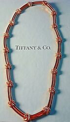 Elegant And Co. Love Knot Groove Link 18k Yellow Gold Choker Necklace
