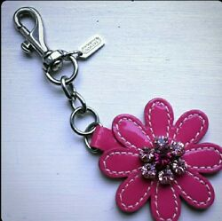 NWOT Coach Jeweled Patent Leather Daisy Flower Keychain Fob Bag Charm Authentic