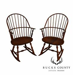 Martins Chair Shop Bench Made Solid Cherry Sackback Pair Of Windsor Rockers B