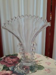 Rare Vintage Hob Nail Vase. Clear Depression Glass Nice Old One
